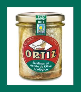 Sardinas en aceite de oliva virgen extra ecológico de Conservas Ortiz