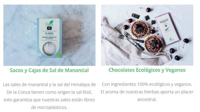 Conca Organics, sacos y cajas de sal de manantial